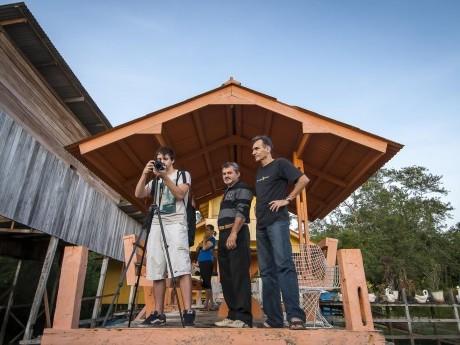 Pedro, Job e Custódio se despedindo da equipe em Macapá. Serão 10 km no Rio Amazonas até chegar na Comunidade Cristo Rei-PA