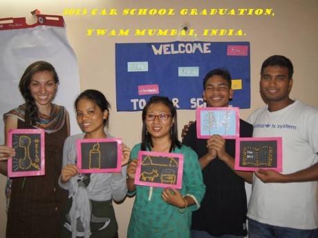 Grupo de alunos da Escola de Crianças em Risco